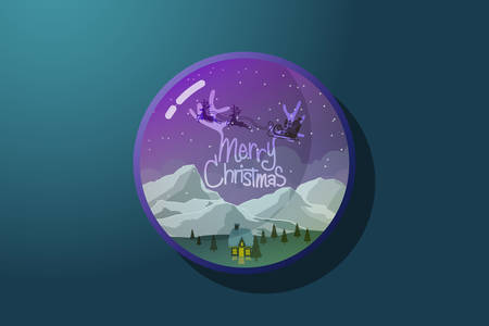 Christmas greeting banner in circle badge. Merry Christmas text and reindeer with sleigh with gift box fly over winter landscape night. vector illustration Stock Illustratie