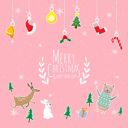 Merry Christmas & Happy New year. cute cartoon of animals character , christmas tree and gift box with text Merry Christmas hanging Christmas ornaments isolated on pink background