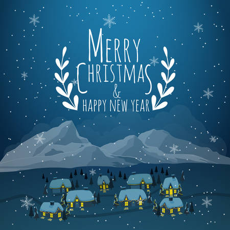 Christmas greeting card. Merry Christmas lettering, vector illustration Stockfoto - 135170119