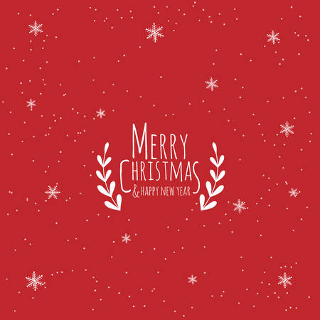 Merry Christmas & Happy New year. simple text Merry Christmas & Happy New year from handwriting decorate with floral and snowflake on red background for greeting card on seasonal and holiday Stockfoto - 135170153
