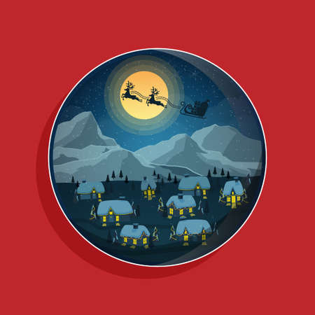 Christmas greeting banner in circle badge. reindeer with sleigh with gift box fly over winter landscape night. vector illustration Stock Illustratie