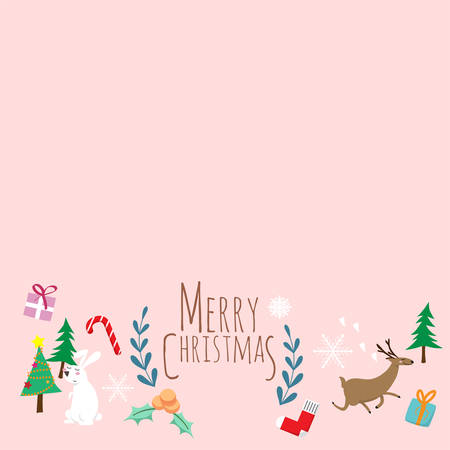 Merry Christmas. cute cartoon of animals character , christmas tree and gift box with text Merry Christmas. hanging Christmas ornaments isolated on pastel pink background with copy space. vector illustration