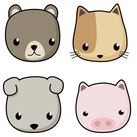 vector set of cute animal cartoon character. bear , cat , dog and pig cartoon face isolated on white background