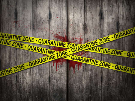 yellow quarantine zone tape for warning over quarantine area on outbreak situation with bloody dirt wooden wall background 写真素材