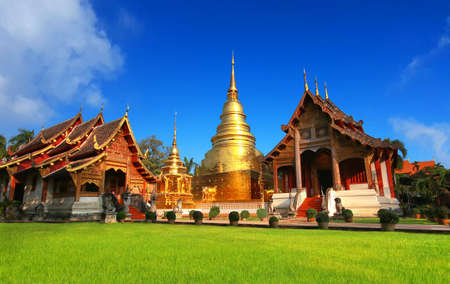 Wat Phra Singh temple in Chiang Mai, Thailand. most popular travel destination and attraction for tourist when visit Chiang mai , Thailand. 写真素材