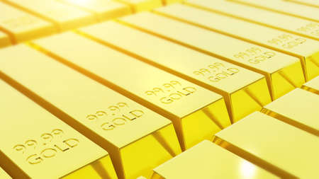 stack close-up of pure gold bars arranged in abundance, 3D render. gold invest trading concept 写真素材