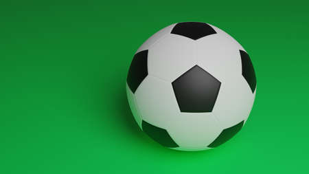 one football ball isolated on green background, close up soccer ball with copy space for sport background 写真素材