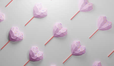 pink heart shape chocolate candy on the end of a stick like lollipop with colorful sprinkles topping. sweet food pattern on white background, 3d rendering