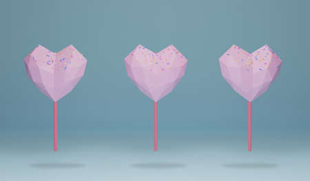 pink heart shape chocolate candy on the end of a stick like lollipop with colorful sprinkles topping. sweet food pattern on blue background, 3d rendering