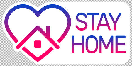 stay home logo, heart and home logo with text stay home with color gradient. stay home awareness social media campaign for coronavirus prevention during the covid-19 epidemic. self isolation