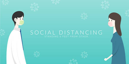 Social distancing. two people keep spaced between each other for increasing the physical space between people to avoid spreading illness during transmission of COVID-19 outbreak Vektoros illusztráció
