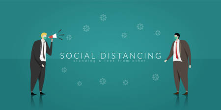 Social distancing. two business people keep spaced between each other for increasing the physical space between people to avoid spreading illness during transmission of COVID-19 outbreak