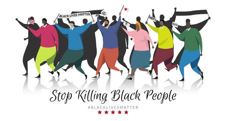 black lives matter concept. group of protesters walked out to protest against violence against black people, holding signs black lives matter , America flag , peace, heart , liberty , justice