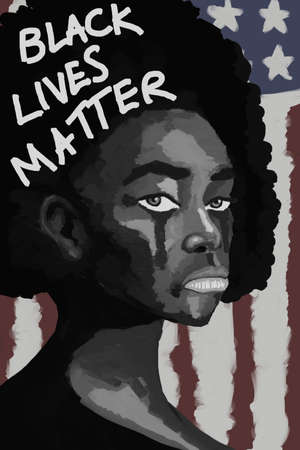 black lives matter banner poster campaign. painting of black people with white tear, black people cry illustration with America flag at background.