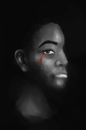 black lives matter banner poster campaign. painting of black people with red blood tear, black people cry illustration isolated on black background.