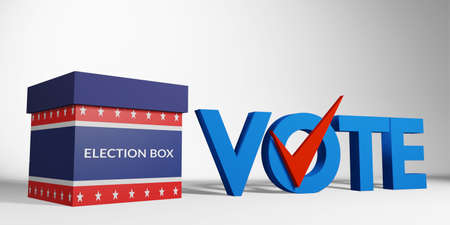 election box with America flag pattern and blue text vote with red check correct sign isolated on white background, 3d rendering. US presidential election banner campaign concept