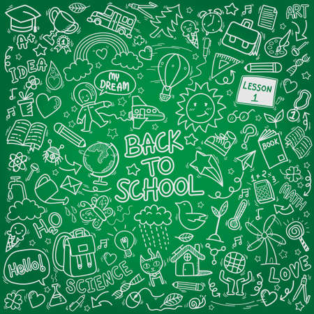 school doodle icons. hand drawn education sign and stationery supply symbols Illustration