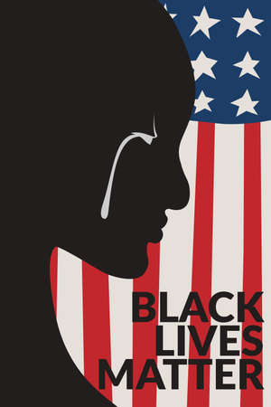painting of black people with white tear, black people cry over America flag background illustration with text black lives matter. black lives matter banner poster campaign. Stock Illustratie