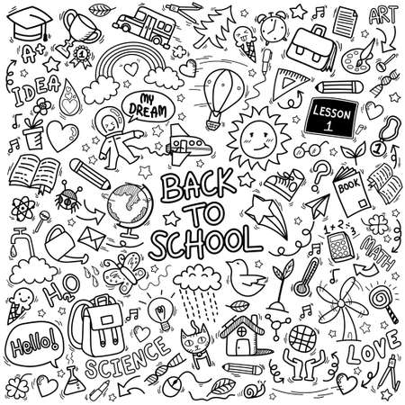 school doodle icons. hand drawn education sign and stationery supply item symbols