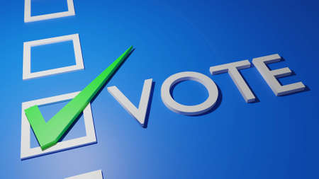 white text vote with green check correct sign in white blank box isolated on blue background, 3d rendering. general election, local election, popular vote, poll banner campaign concept