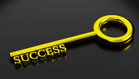 key to success concept. shiny golden key to success isolated on black color with reflection, 3D rendering