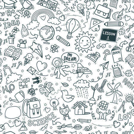 school doodle icons seamless pattern background. hand drawn education sign and stationery supply item and equipment symbols isolated on white background