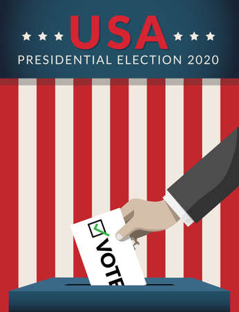 US Presidential election 2020 campaign concept. hand putting voting paper in the ballot box with american flag on background. Presidential election banner background. flat design, vector illustration.
