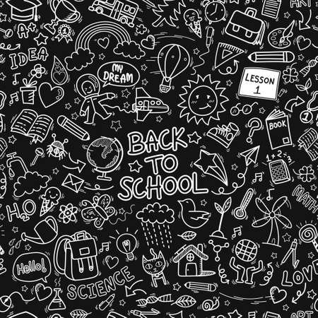 back to school doodle icons seamless pattern background. hand drawn education sign and stationery supply item and equipment symbols isolated on black background
