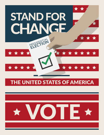 US Presidential election 2020 campaign poster banner. hand putting voting ballot paper card in the ballot box with slogan stand for change. Presidential election background. flat design, vector