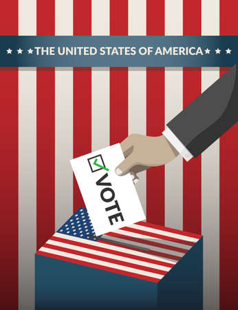 US Presidential election 2020 campaign poster. hand putting voting ballot paper card in the ballot box with american flag pattern on background. Presidential election banner background. flat vector