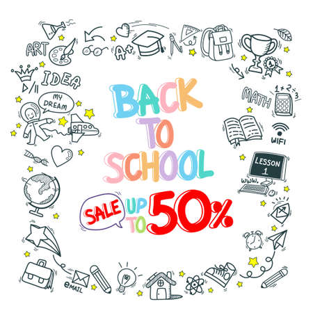 back to school stationery supply item discount doodle icons pattern background. hand drawn cartoon education sign and icon symbols isolated on white background