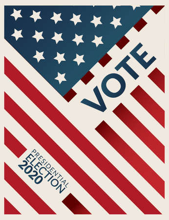 US Presidential election 2020 campaign poster banner. word VOTE  Presidential election 2020 with american flag pattern on background. Presidential election banner background. flat design, vector Illustration