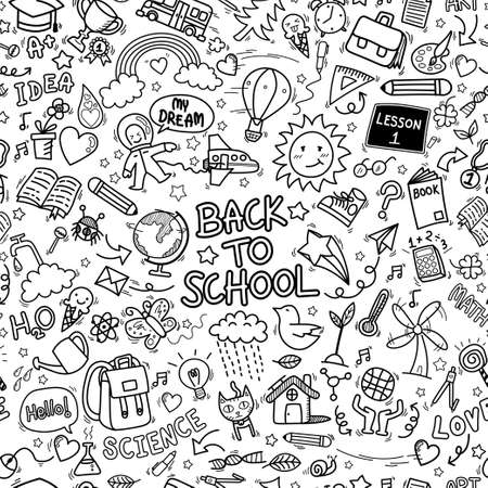 back to school doodle icons seamless pattern background. hand drawn education sign and stationery supply item and equipment symbols isolated on white background