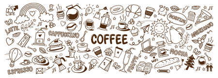 cute doodle cartoon coffee shop icons. vector outline hand drawn for coffee and bakery for cafe menu, including supply item and equipment isolated on white background. drawing style