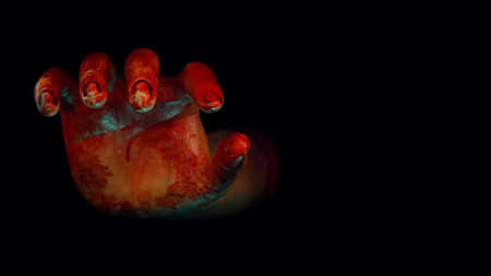 bloody hand reach out from the dark space in Halloween haunted night with horror scene