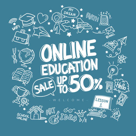 online education discount doodle icons pattern background. hand drawn cartoon education sign and stationery supply item and icon symbols isolated on blue background Illusztráció