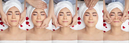 set of young and beautiful Asian woman in massage spa salon. traditional oriental therapy and facial massaging , skin treatments for relaxing. head shot, top view.