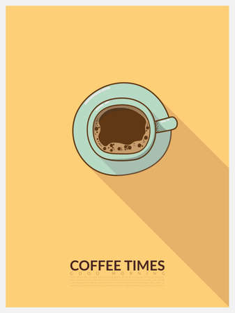 vector cartoon top view for a cup of coffee, blue cup on yellow background with light and shadow. minimal design poster style with copy space and text good morning coffee times