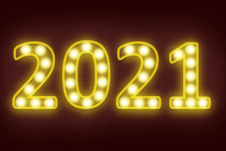 light bulb flashing in number 2021 for happy new year 2021 new year eve celebration background