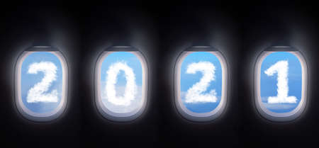 cloud 2021 outside the plane window, four airplane windows open white window shutter wide with blue sky view and white cloud in 2021 shape