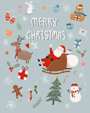 cute hand drawn cartoon set of merry Christmas greeting card with Christmas ornament decorative isolated on blue background. Christmas illustration for poster and banner during season greeting