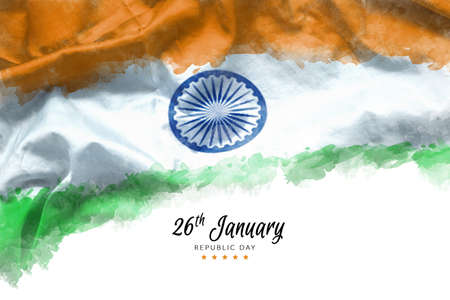 Illustration of Happy Indian Republic day for poster or banner background. flag of India painting by watercolor on canvas texture with Ashoka wheel for national Indian holidays celebration on January