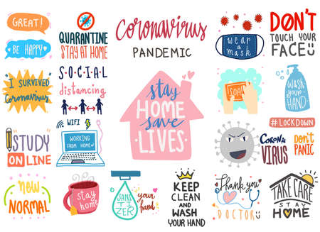 coronavirus covid-19 lettering doodle banner digital sticker concept. collection set of illustration hand drawn cartoon lettering about corona virus covid 19 epidemic disease prevention and new normal