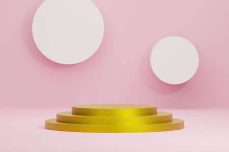 presentation shape with round circular pedestal gold podium for product display on pink color background, stand for product advertising promotion banner in minimal style with copy space, 3d rendering