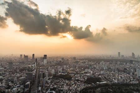 urban sprawl: Dramatic sunset over Tokyo urban sprawl, Japan Stock Photo