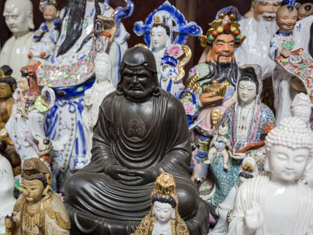 Various statues in a buddhist temple in Colombo, Sri Lanka
