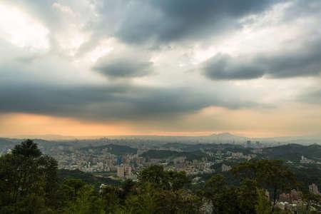 urban sprawl: Sunset over Taipei urban sprawl in Taiwan