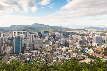 urban street: A view of Seoul, South Korea capital city, taken from the Namsan mountain in the heart of the city. Stock Photo