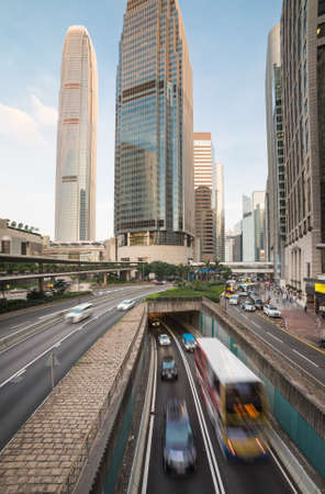rushes: Traffic rushes through the street of Hong Kong central business district.