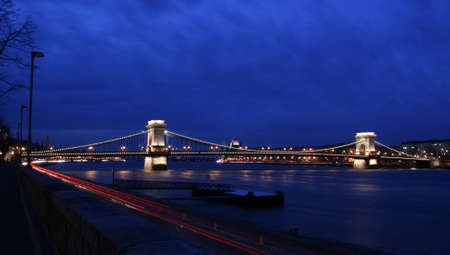 The Chainbridge at dusk in Budapest photo